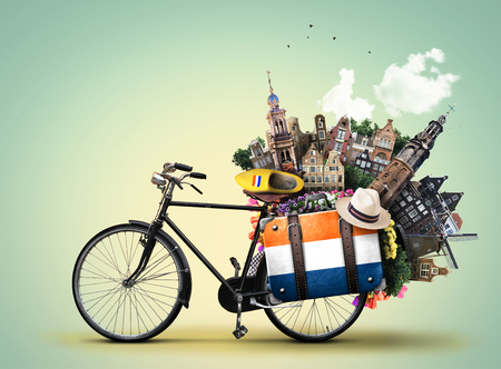 the hague: Holland, a city bicycle with Dutch attractions Stock Photo
