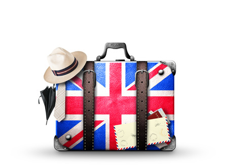 England, vintage suitcase with British flag Фото со стока