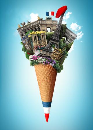 フランス、アイス クリームでパリのランドマーク