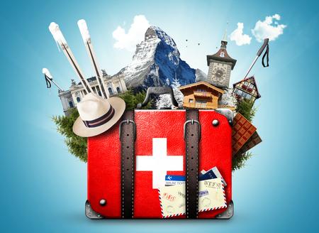 Suisse, valise rétro avec les curiosités de la Suisse Banque d'images - 77449751