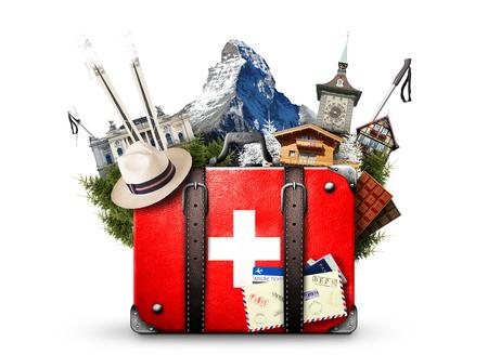 Suisse, valise rétro avec les curiosités de la Suisse Banque d'images - 77388743