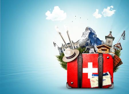 스위스, 스위스 명소가있는 복고풍 여행 가방