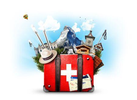 Switzerland, retro suitcase with the sights of Switzerland Stock Photo - 77236717