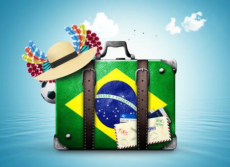 Brazil travel and retro suitcase