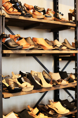 Womens shoes on the shelves in the store Stock Photo
