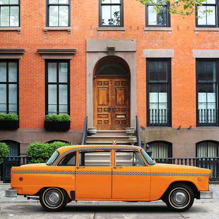 Taxi, retro car yellow color on the New York street Stock Photo
