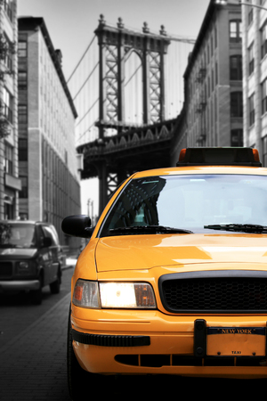 Taxi, retro car yellow color on the road