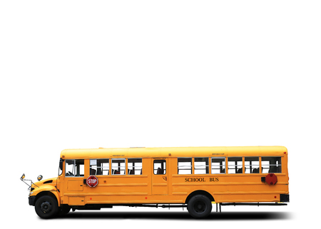 Yellow school bus on the white background