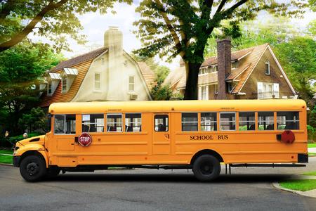 Yellow school bus on the city street