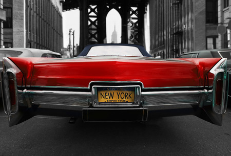 Retro old car red color on the road in New York Reklamní fotografie