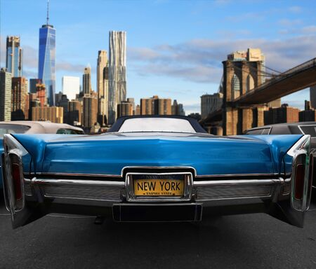 ニューヨークの道路上のレトロな古い車の青い色