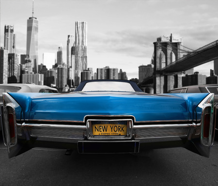 Retro old car blue color on the road in New York