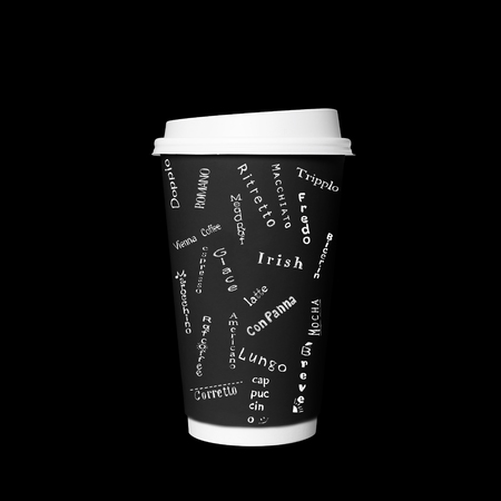 Disposable coffee Cup with cards with kinds of coffee Banco de Imagens