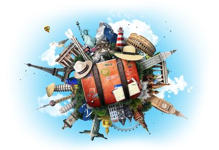 Reis, wereldoriëntatiepunten op de achtergrond van blauwe hemel Stockfoto