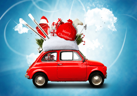 Christmas car Santa Claus with gift bag Stock Photo