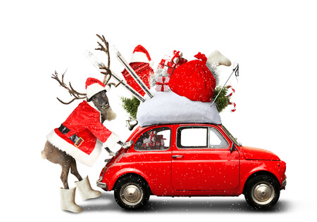クリスマス車サンタ クロース ギフト バッグ 写真素材 - 89672333