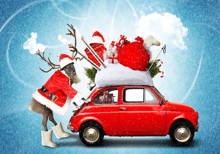 クリスマスカーサンタクロースギフトバッグ 写真素材