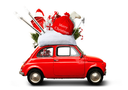 Weihnachtsauto Santa Claus mit Geschenktüte Standard-Bild - 89675475