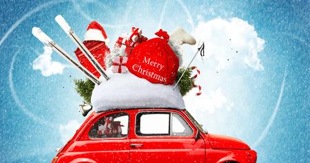 Christmas car Santa Claus with gift bag Stock Photo