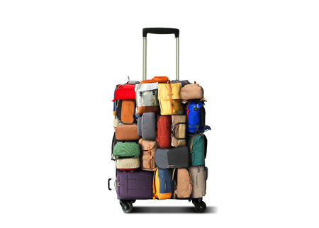 Travel suitcase made of small bags and backpacks