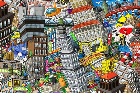 Cidade, uma ilustração de uma grande colagem, com casas, carros e pessoas Foto de archivo - 91382254