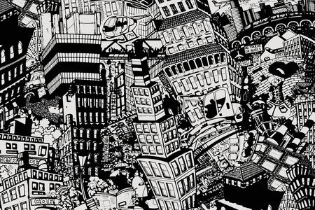 Miasto, ilustracja dużego kolażu z domami, samochodami i ludźmi Zdjęcie Seryjne