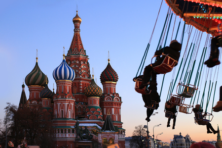 Russia, Moscow, St.Petersburg Basil's Cathedral on red square