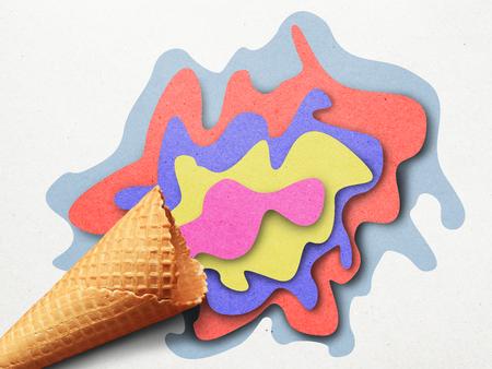 色紙のアイスクリームアプリケのイラスト