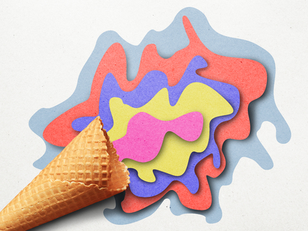 Illustration of Ice cream applique of colored paper