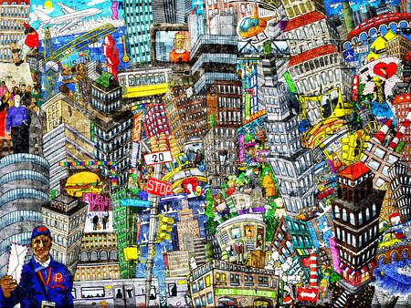 낙서, 도시, 주택, 자동차 및 사람들과 큰 콜라주의 그림