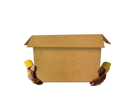 Empty open cardboard box and construction gloves