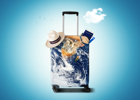 Traveler's bag with a print of the planet Earth Stockfoto - 96373440