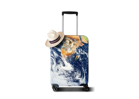 Travelers bag with a print of the planet Earth