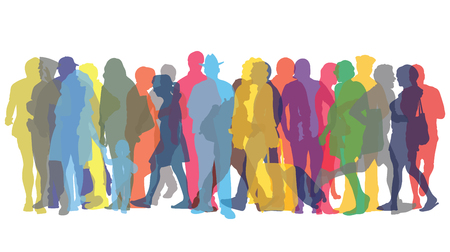 Vector illustration with colored figures of people Ilustração