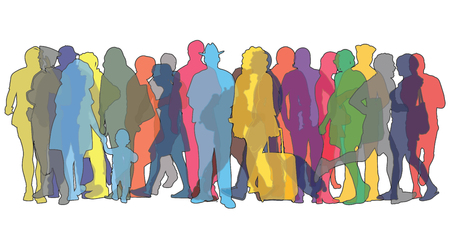 Vector illustration with colored figures of people Vectores