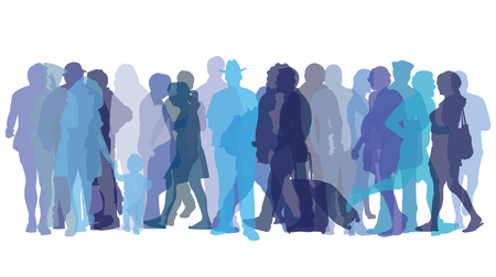 Vector illustration with colored figures of people  イラスト・ベクター素材