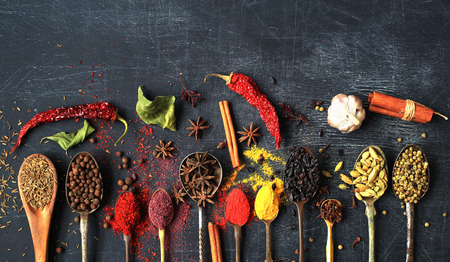Food background with old vintage spoons and spices