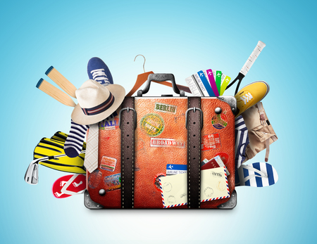Retro suitcase of a traveler with travel stickers Stockfoto - 99433484