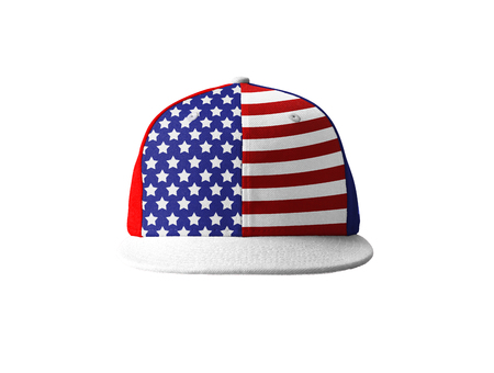 Baseball cap with a wide visor of the American flag
