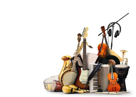 Instrumentos musicales, orquesta o un collage de música Foto de archivo