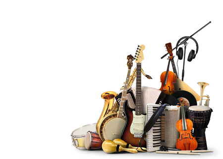 Musical instruments, orchestra or a collage of music Standard-Bild