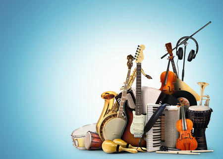 Musical instruments, orchestra or a collage of music 스톡 콘텐츠