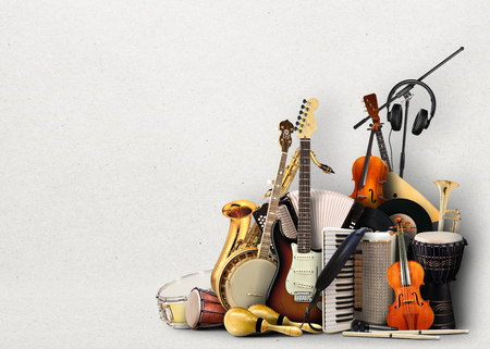 Musical instruments, orchestra or a collage of music 版權商用圖片