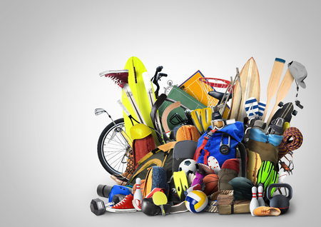 Sports equipment has fallen down in a heap Reklamní fotografie