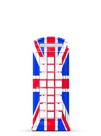 British telephone box in the style of the British flag Foto de archivo - 104385425