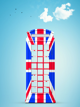 British telephone box in the style of the British flag Banque d'images - 104385429