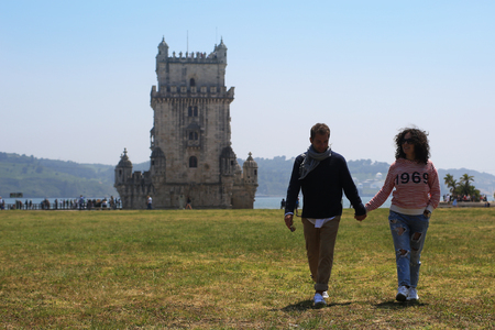 Young couple on vacation in Lisbon Stock Photo