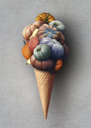 Big pile of colorful pumpkins in a waffle cone Stock fotó