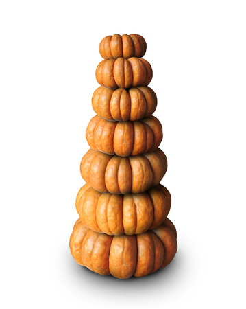 Halloween, yellow pumpkins stacked on top of each other