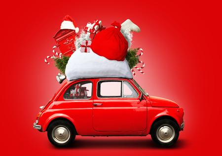 Christmas car Santa Claus with gift bag Stock fotó